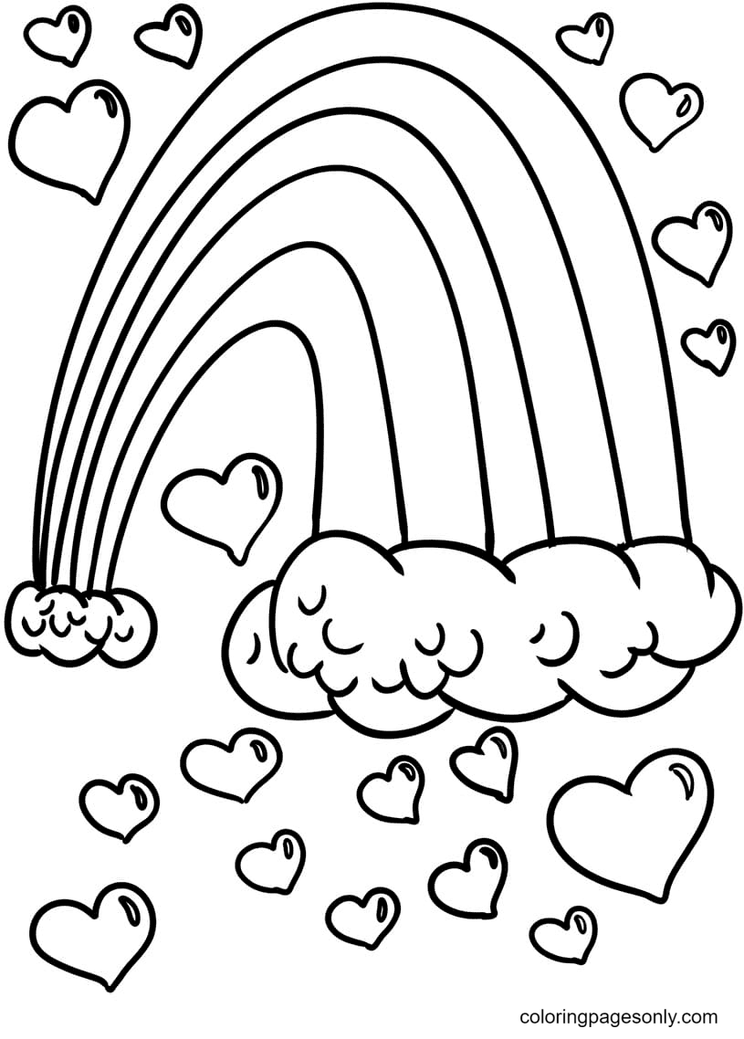 Hearts Surrounded the Rainbow Coloring Page