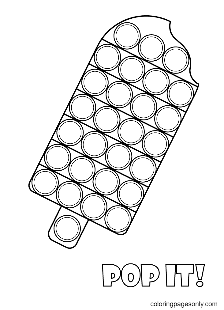 Ice Cream Shaped Pop It Coloring Page