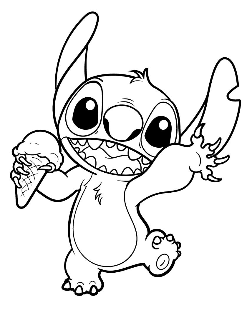 Ice cream stitch Coloring Page