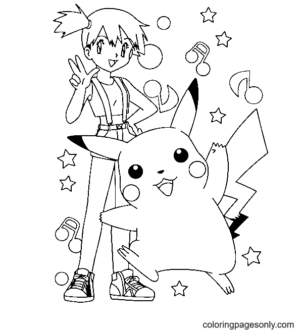 Kasumi and Pikachu Coloring Page