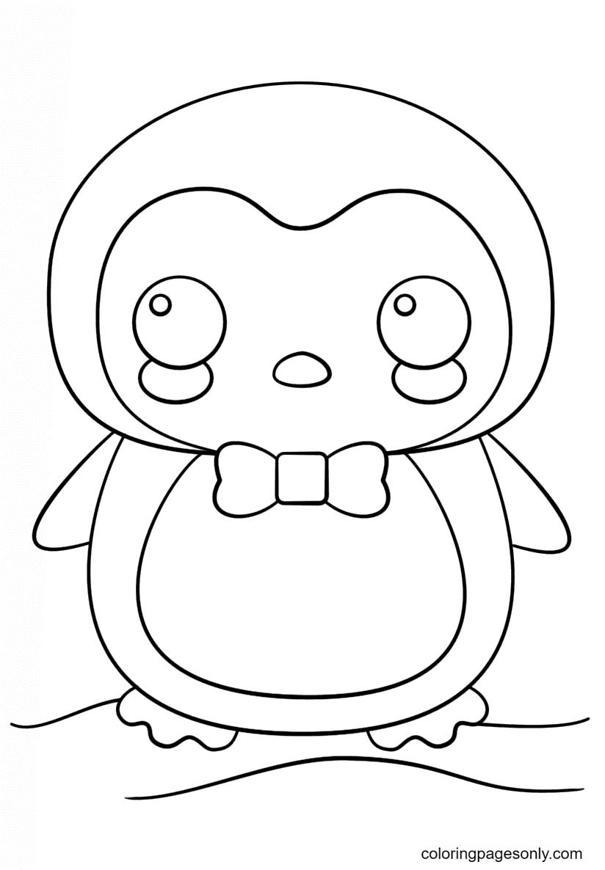 Kawaii Penguin Coloring Page