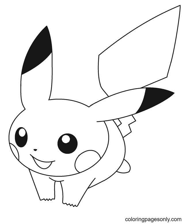 Kawaii Pikachu Coloring Page