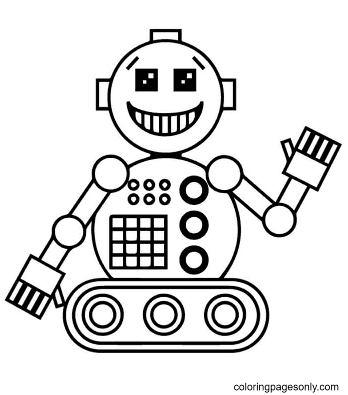 Laughing Robot Coloring Page