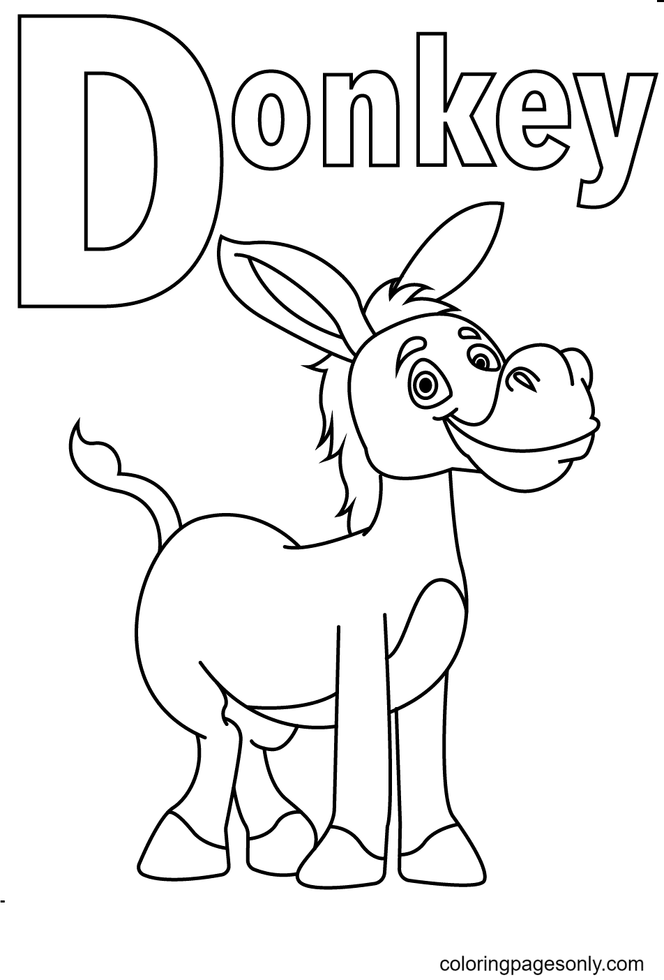 Letter D is for Donkey Coloring Page
