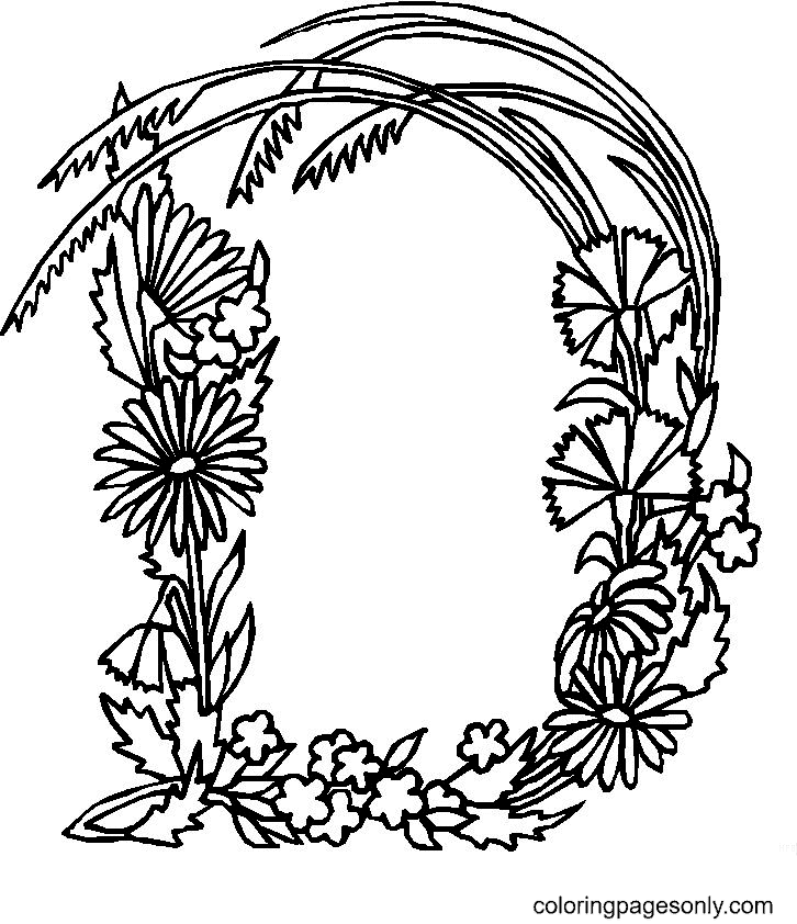 Letter D with Flowers Coloring Page