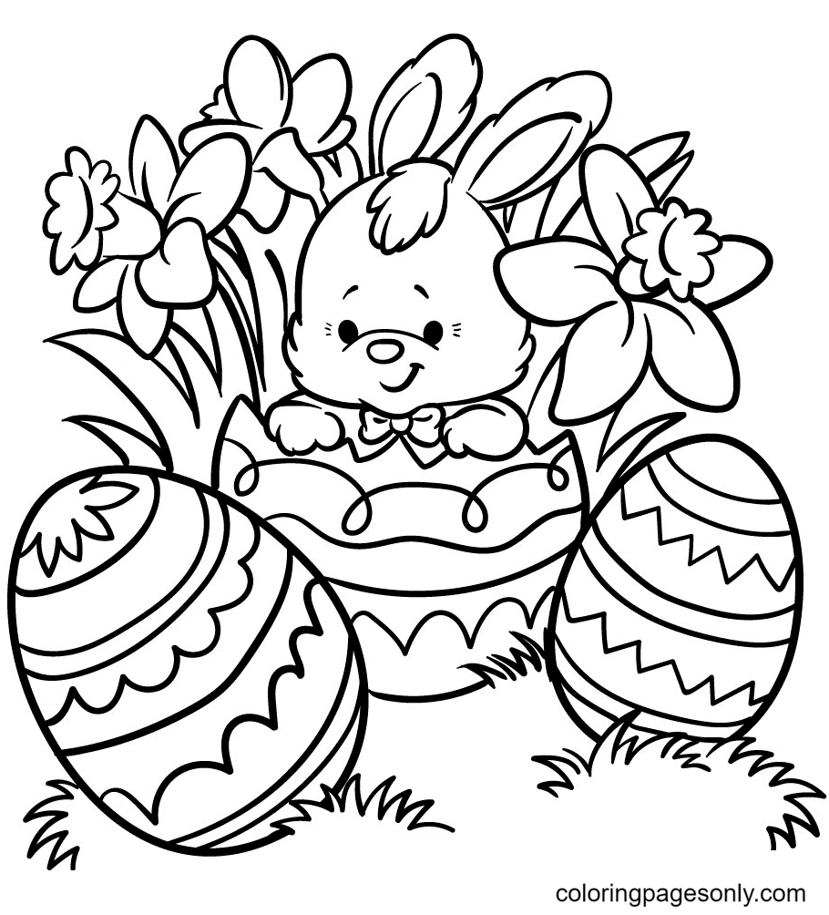 Little Bunny Hatching From Another Easter Egg Coloring Page