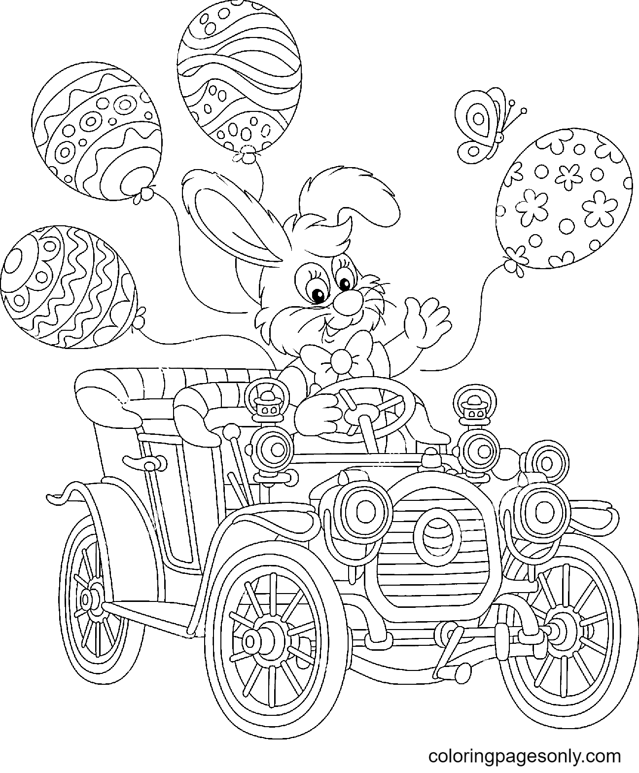 Little Easter Bunny Friendly Smiling Coloring Page