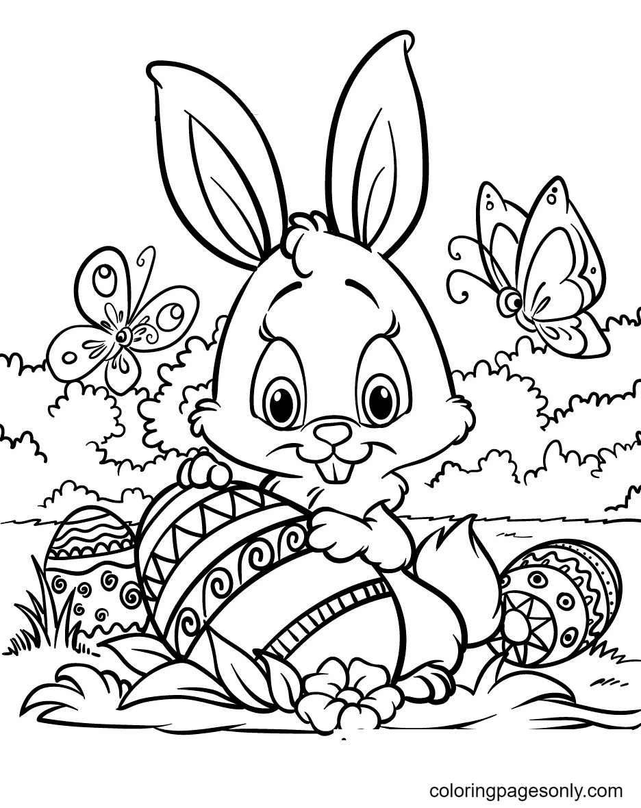 Little Easter Bunny With Butterfly Coloring Page