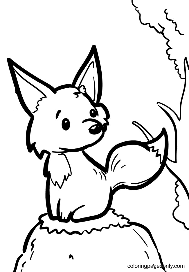 Little Fox Sitting on a Grassy Rock Coloring Page
