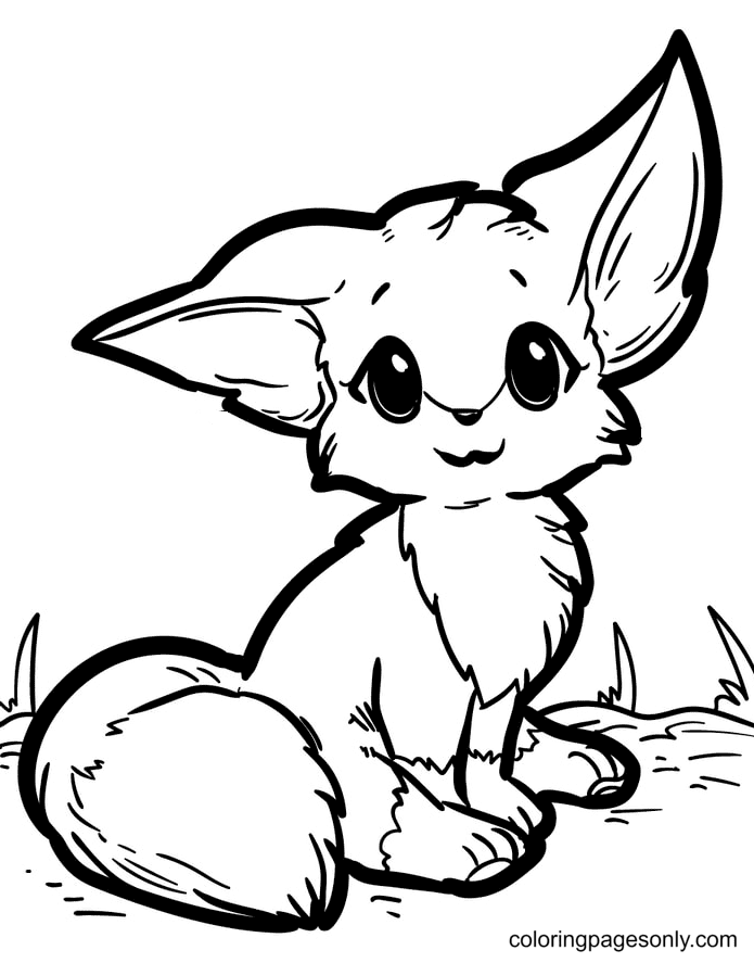 Little Fox with Big Ears Coloring Page
