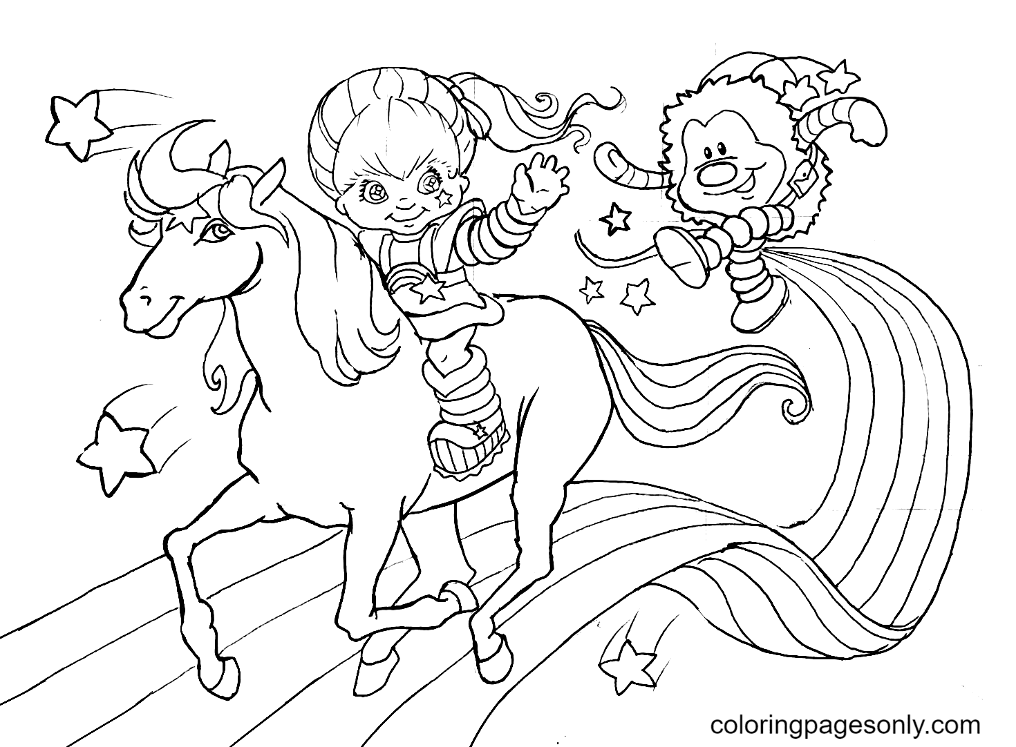 Little Girl Riding a Horse On a Rainbow Coloring Page