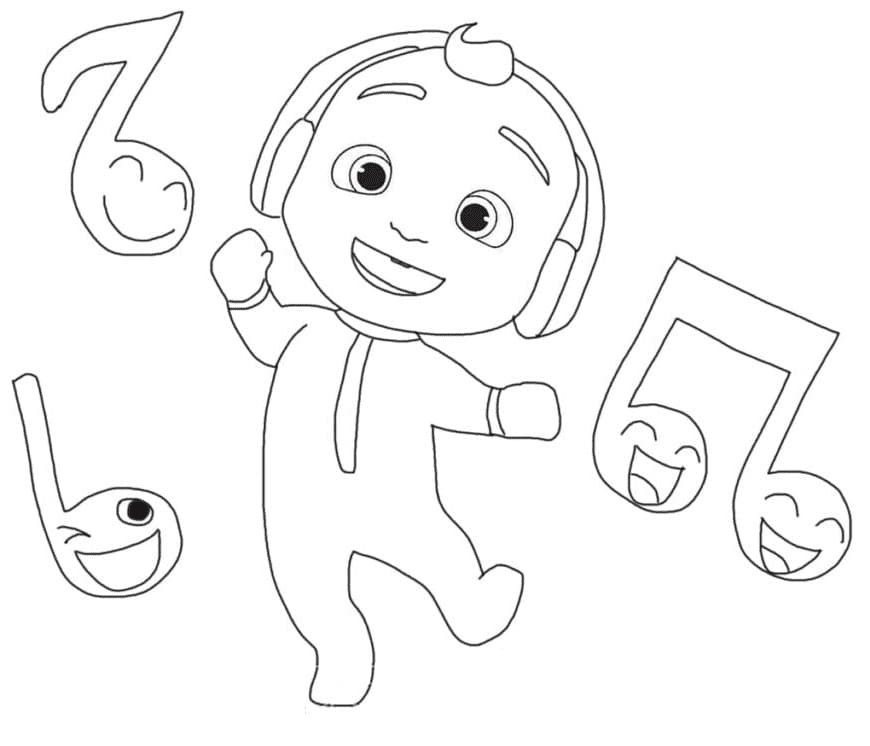 Little Johnny Listens to Music Coloring Page