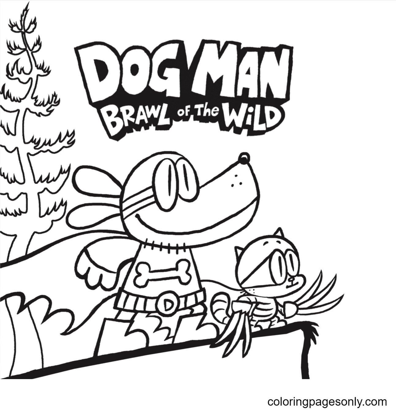 Little Petey Dog Man and Cat Kid Coloring Page