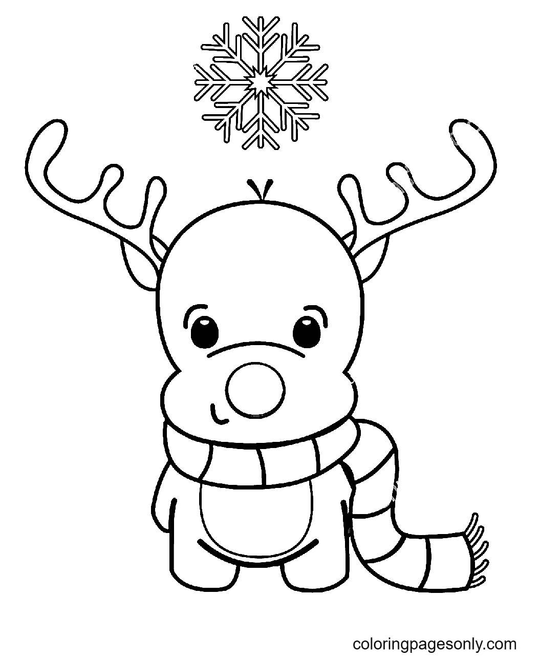 Little Reindeer with a Scarf Coloring Page