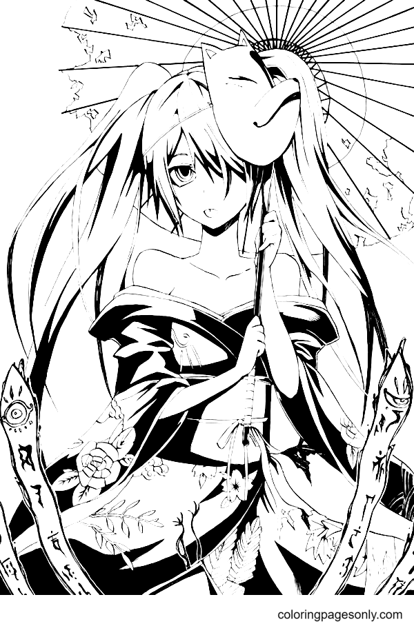 Long Hair Anime Girl Holding an Umbrella Coloring Page