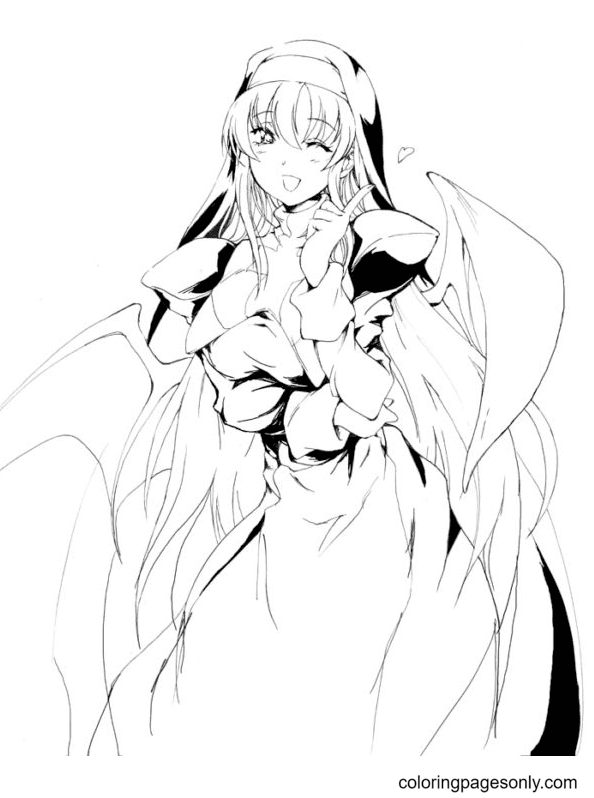 Long Hair Anime Girl Smiling Cute Coloring Page