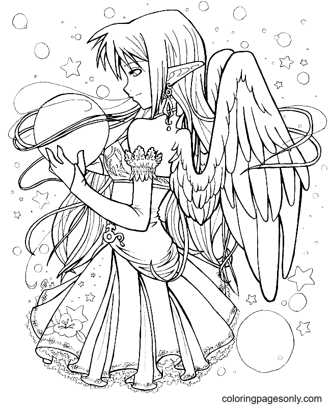 Long Hair Anime Girl With Angel Wings Coloring Page