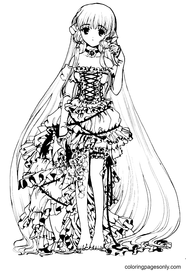 Long Hair Anime Girl with a Pretty Dress Coloring Page