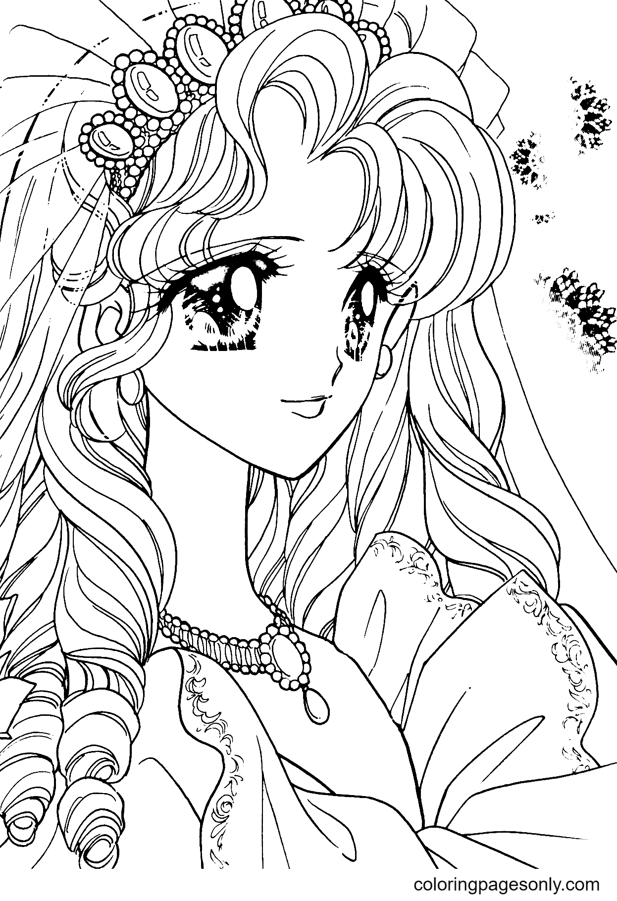 Lovely Anime Girl Coloring Page