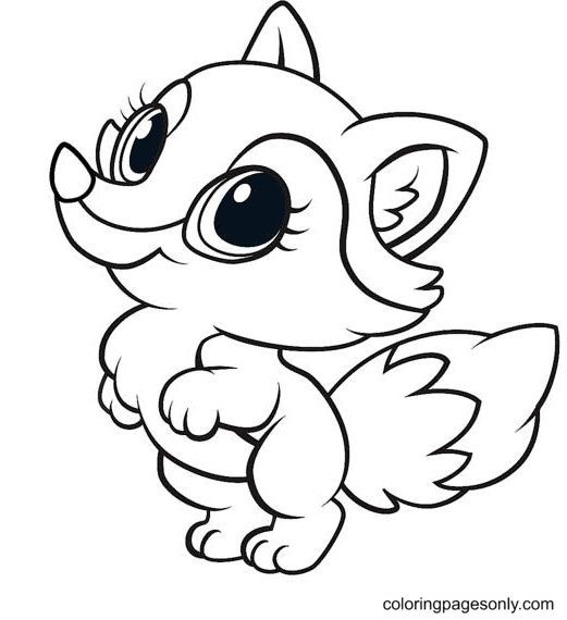 Lovely Baby Fox Coloring Page