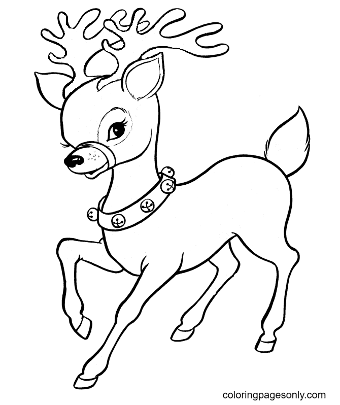 Lovely Baby Reindeer Coloring Page