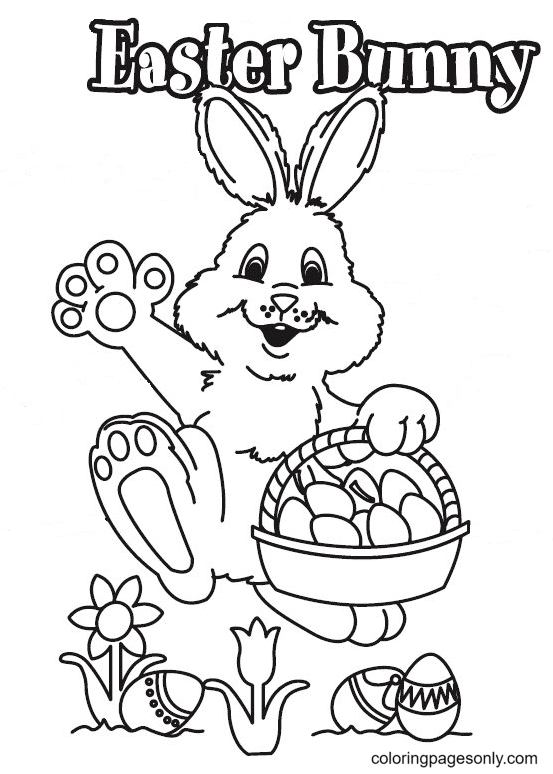 Lovely Bunny with Basket Easter Eggs Coloring Page