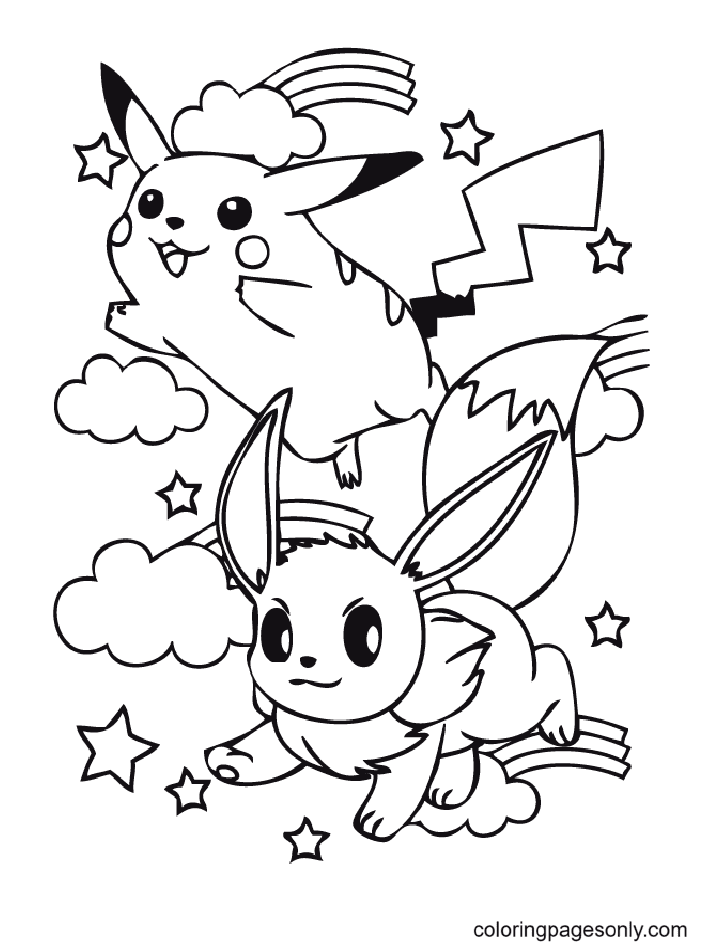 Lovely Eevee And Pikachu Coloring Page