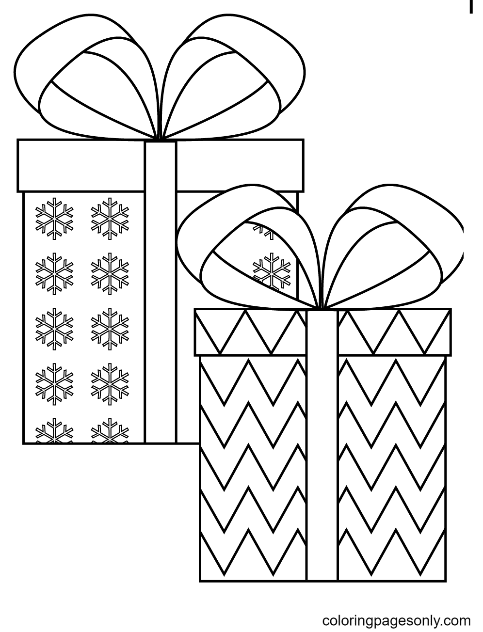 Lovely Gift Pair for Christmas Coloring Page