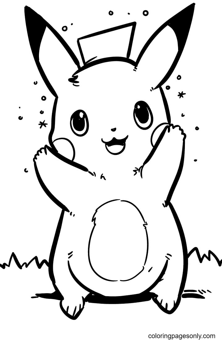 Lovely Pokemon Pikachu Coloring Page