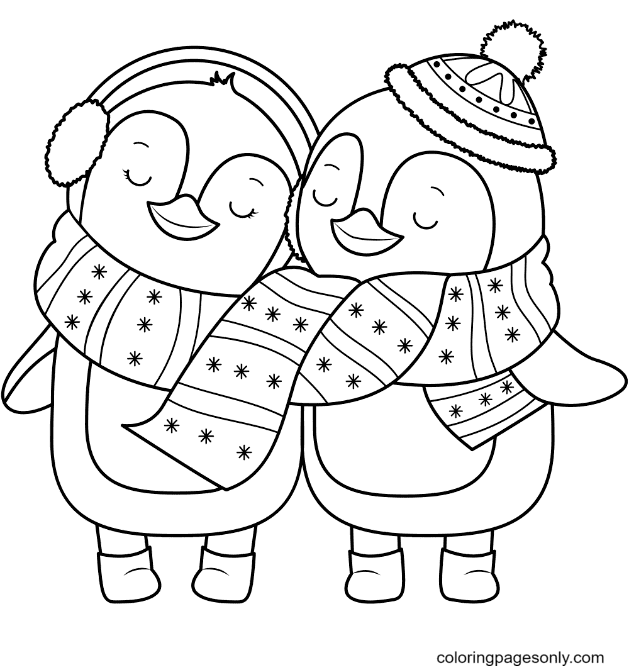 Lover penguins Coloring Page