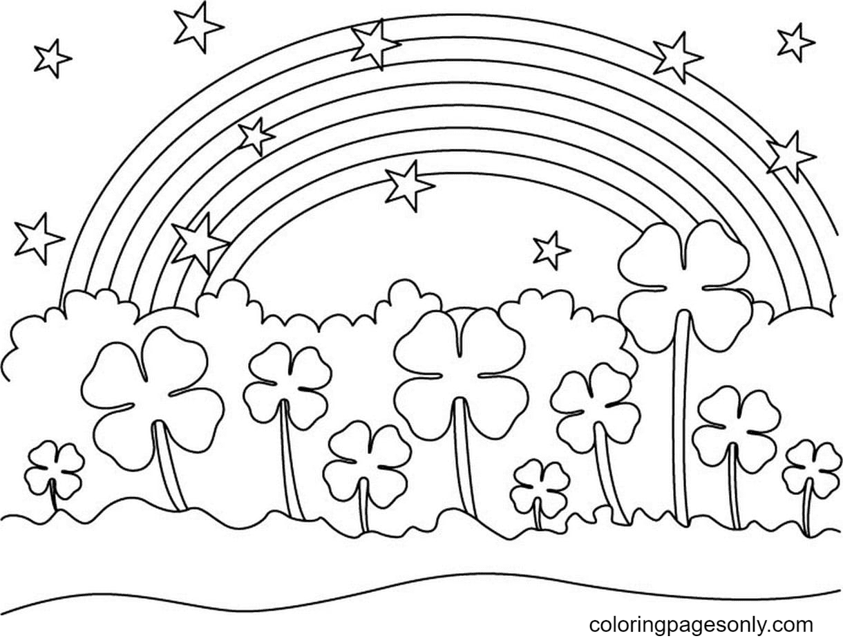 Lucky Grass and Rainbow Coloring Page