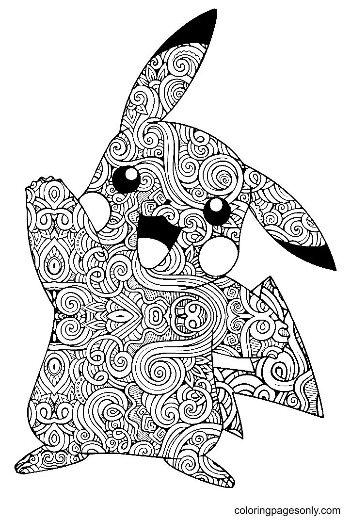 Mandala Pikachu Coloring Page