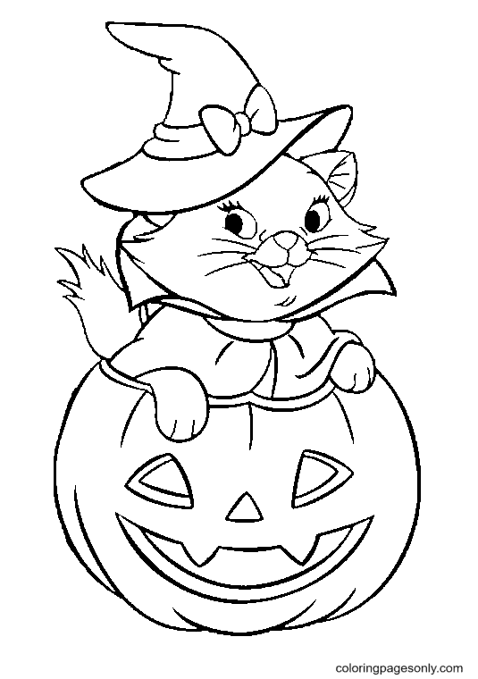 Marie Cat on Halloween Coloring Page