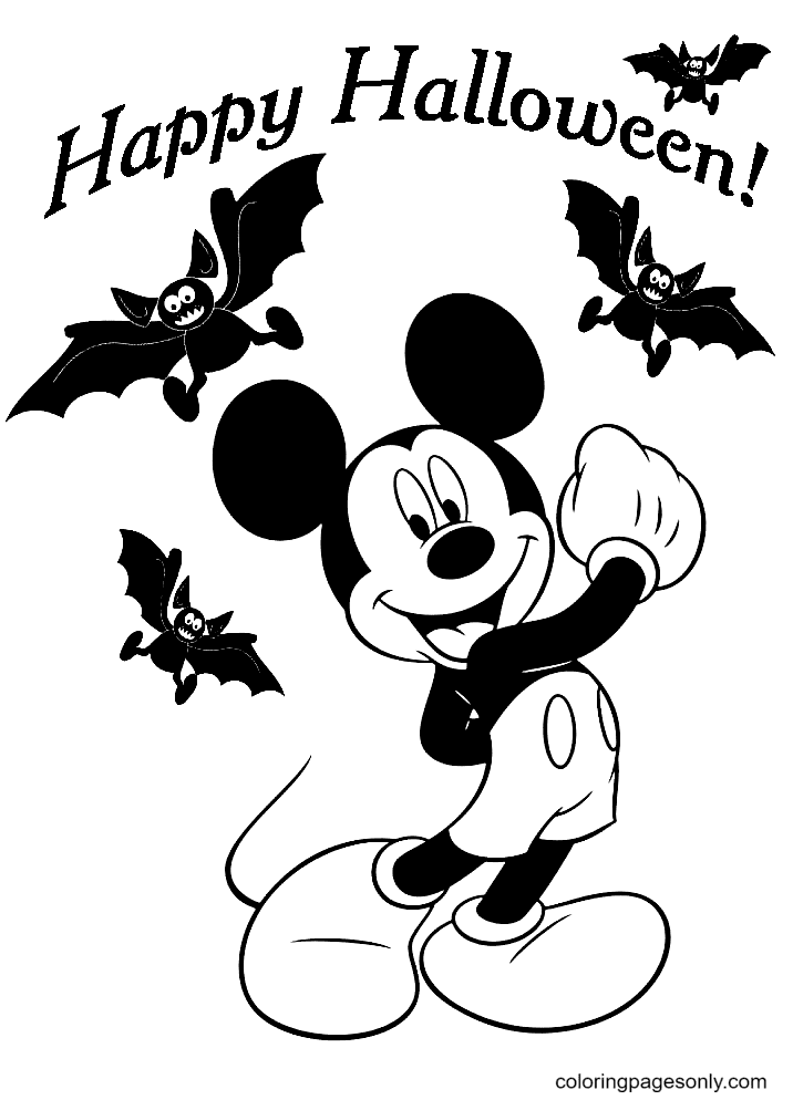Mickey and Bats Coloring Page