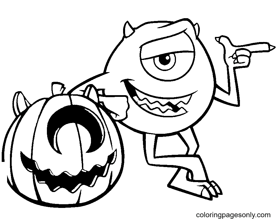 Mike Wazowski and Pumpkin Coloring Page