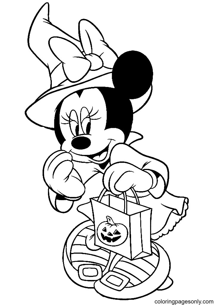 Minnie and Candy Bag Coloring Page