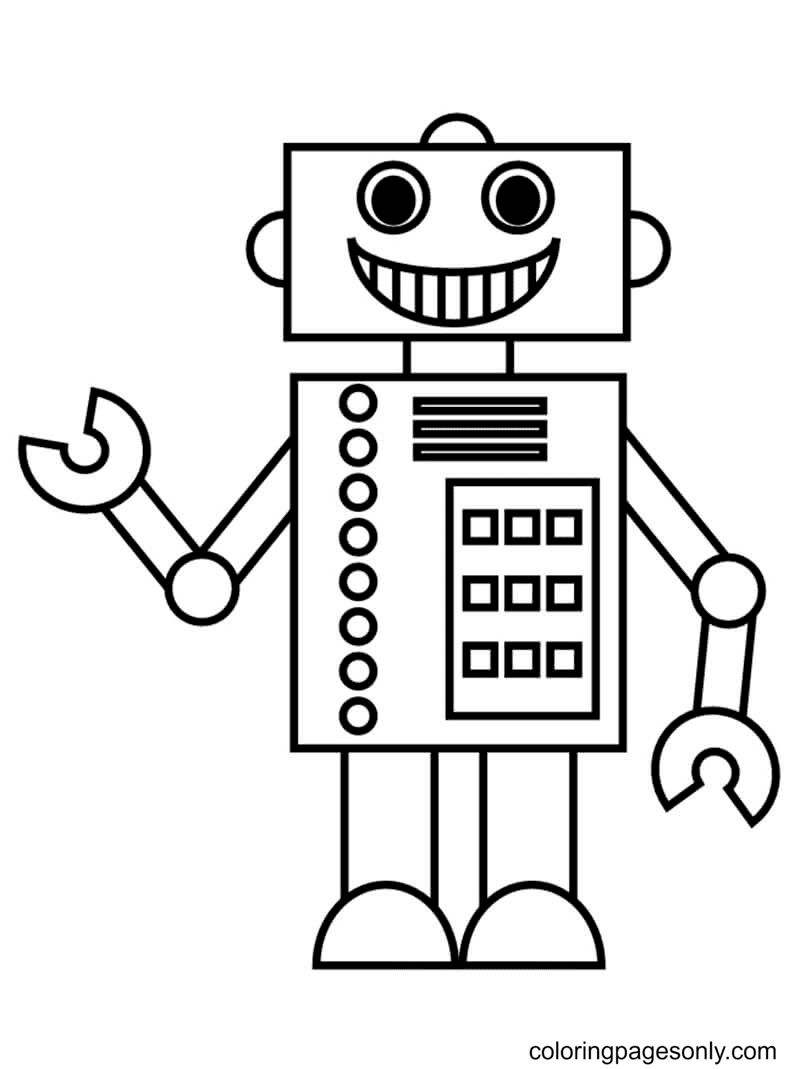 Modern Robot Coloring Page