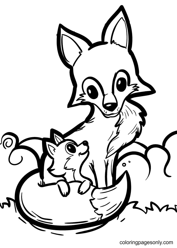 Mother Fox Wraps Her Tail Around Baby Fox Coloring Page
