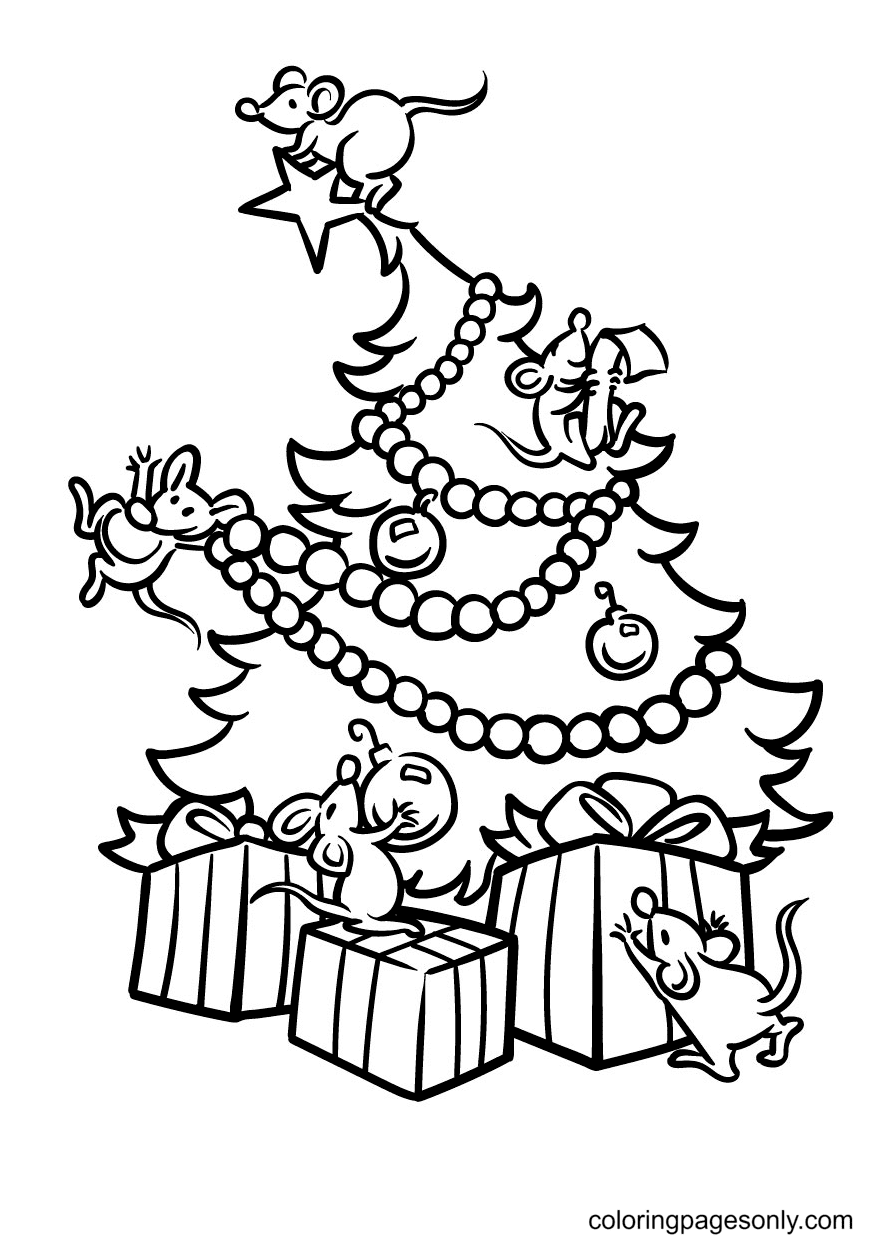 Mouse decorates Christmas Tree Coloring Page