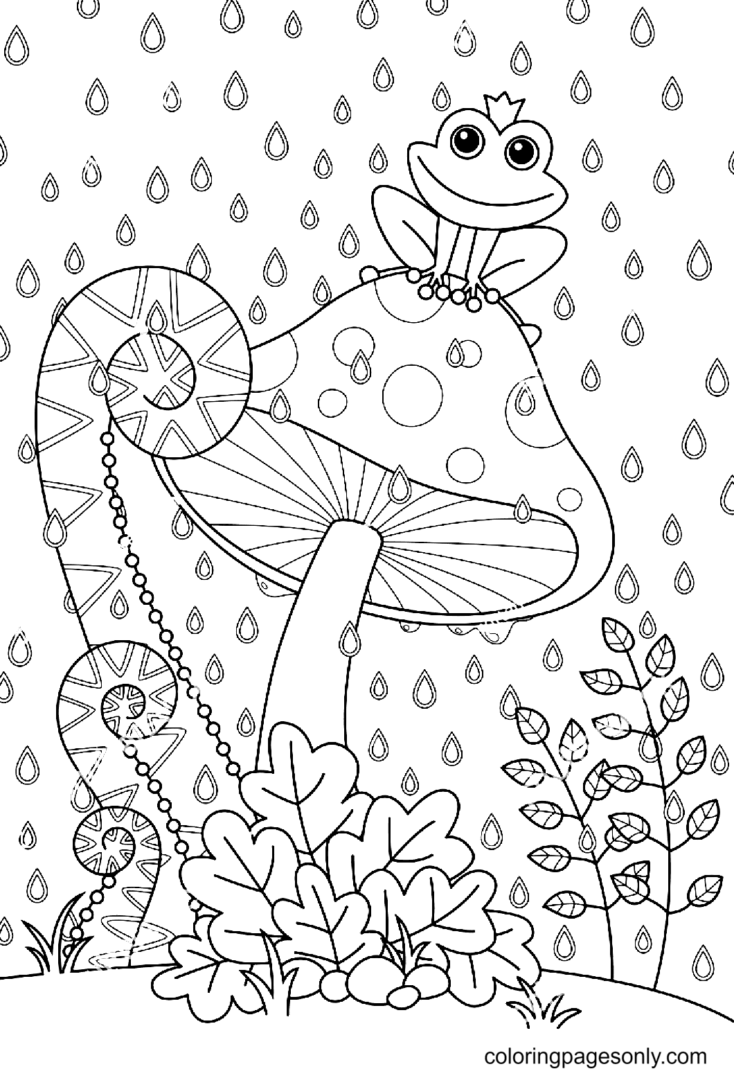 Mushroom with Funny Frog Coloring Page