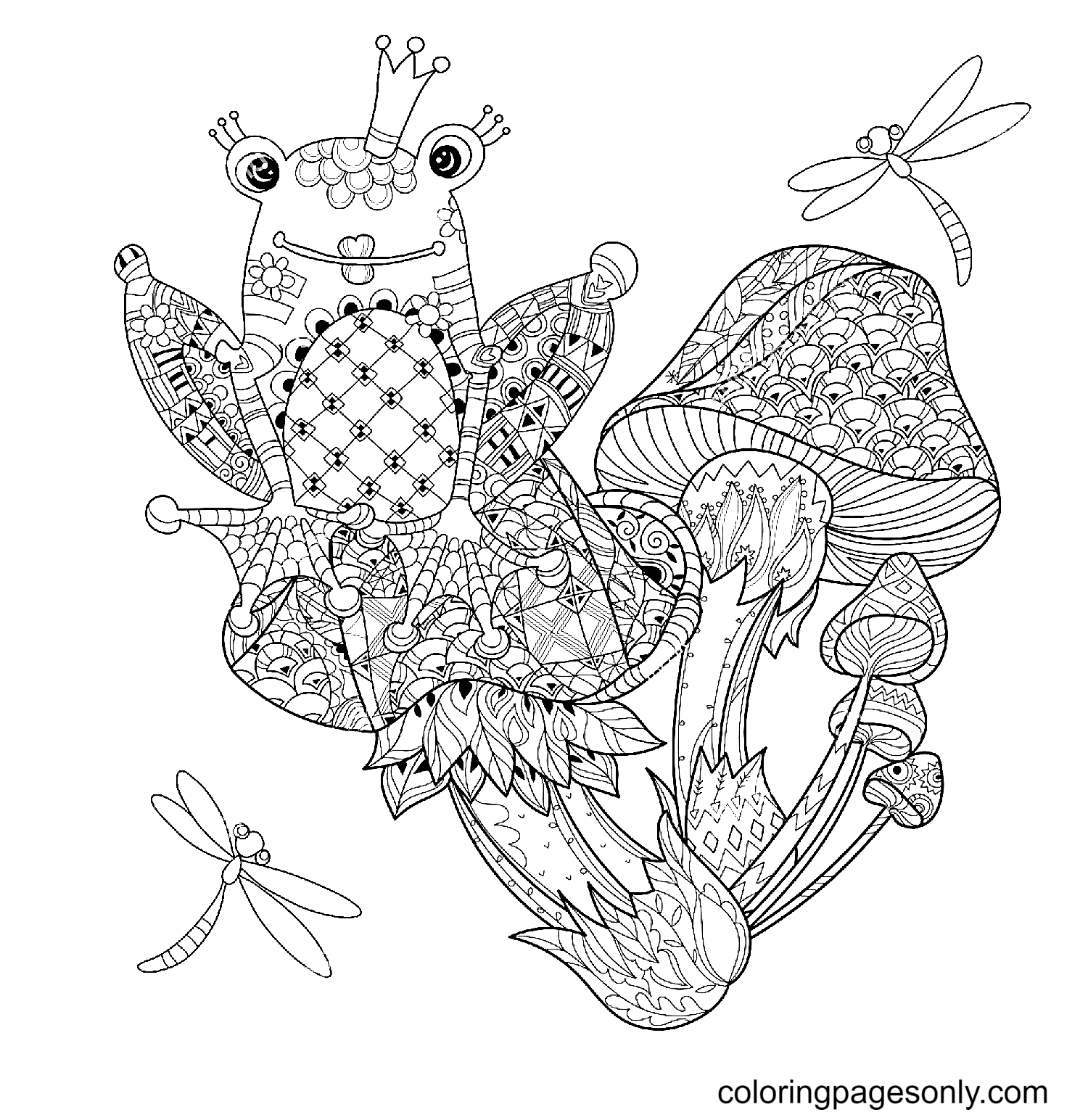 Mushrooms and Frog Princess Coloring Page