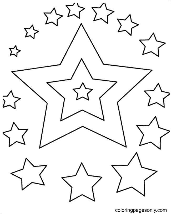 Nice Stars Coloring Page