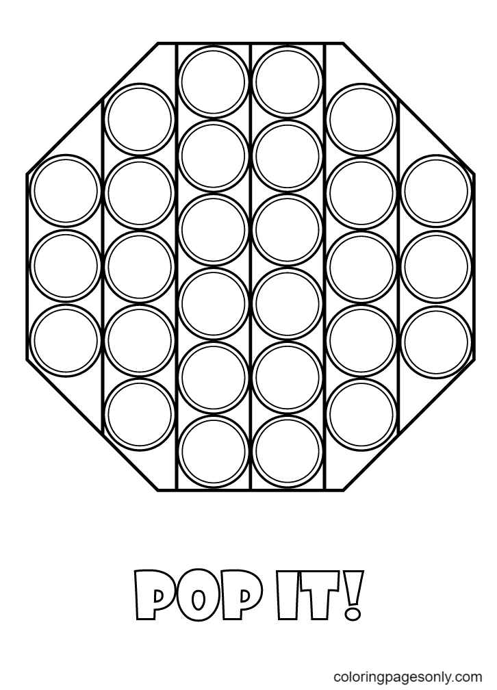 Octagon Shaped Pop It Coloring Page