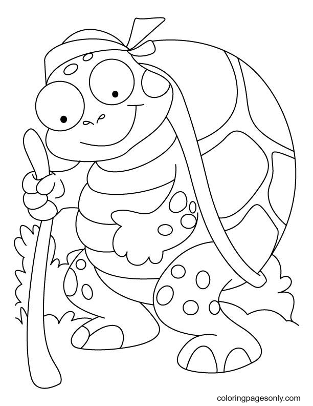 Old Tortoise Coloring Page