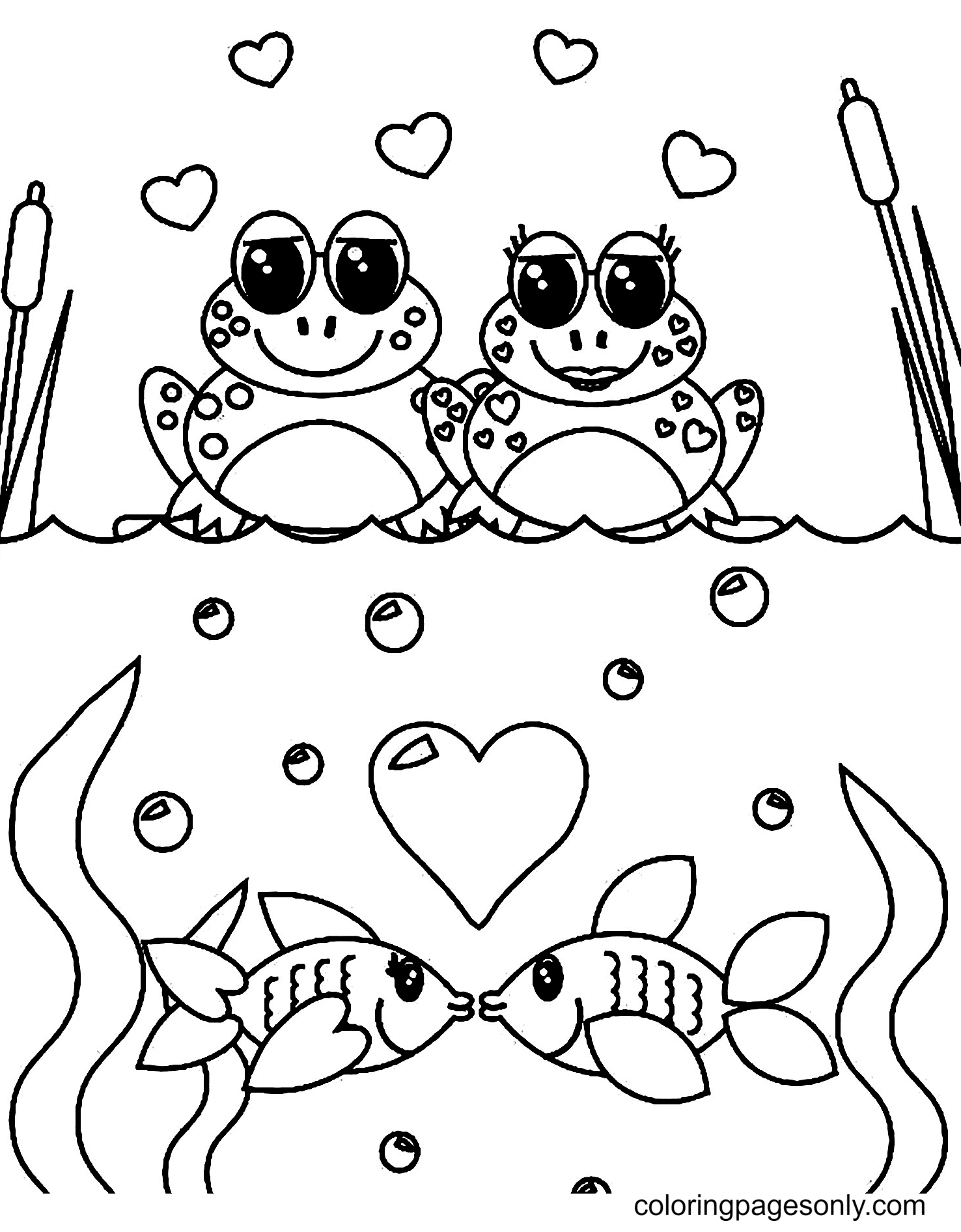 Pair of Frogs and Pair of Fish Coloring Page