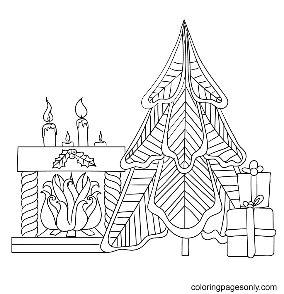 Pattnered Christmas Tree Coloring Page