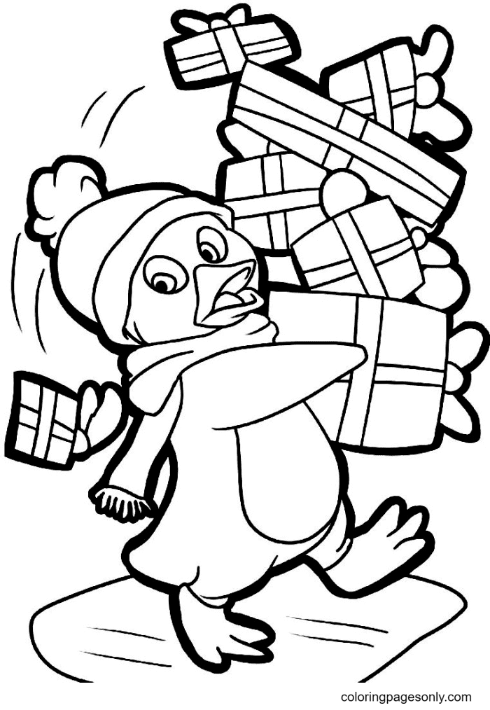 Penguin And Christmas Gifts Coloring Page