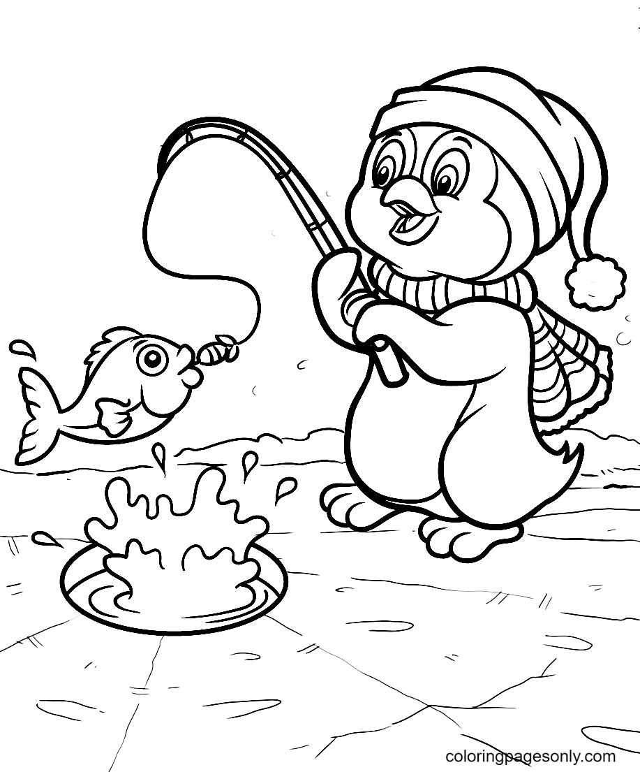 Penguin Caught a Big Fish Coloring Page