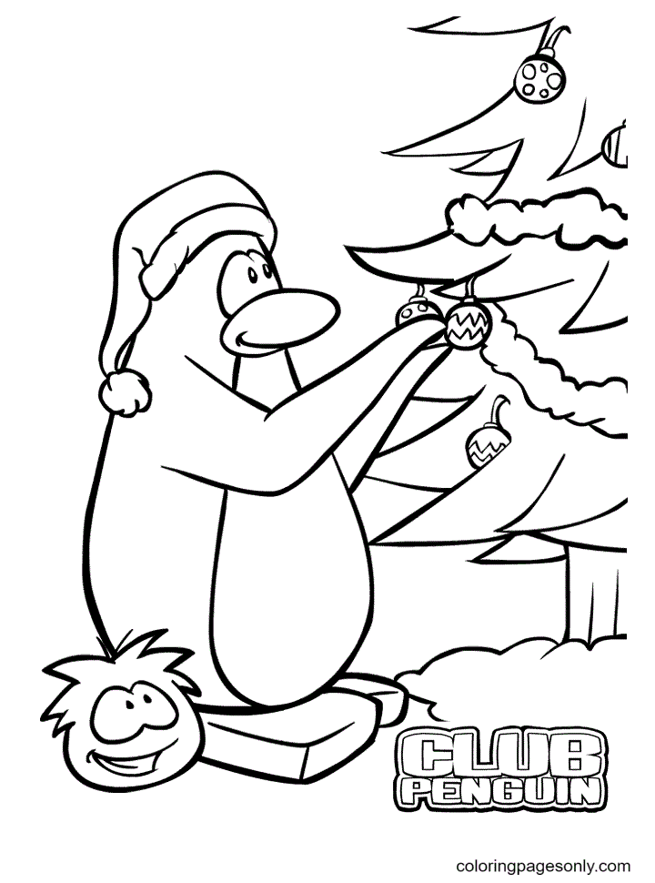 Penguin Christmas Coloring Page