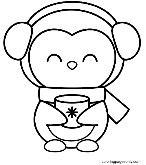 Penguin Drink Tea Coloring Page